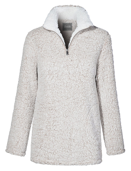 Womens Relaxed Fit Half Zip Up Sherpa Fleece Pullover Sweatshirt with Pockets (WSK4226)