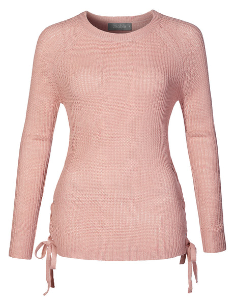 Womens Casual Round Neck Lace Up Side Soft Knit Pullover Sweater Top (WSK4244)