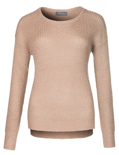 Womens Soft Knit Long Sleeve Round Neck Sweater Pullover (WSK4260)