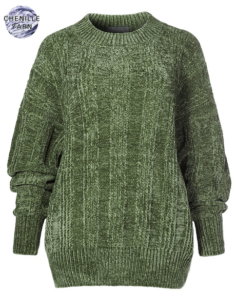 Womens Oversized Chenille Velvet Knit Long Sleeve Round Neck Sweater Pullover (WSK4265)