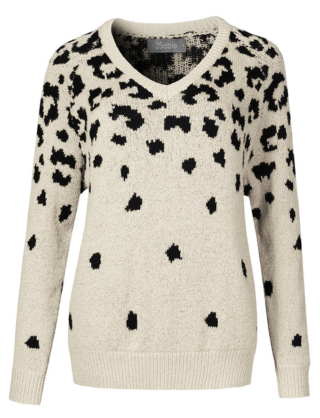 Womens Cozy Knitted Loose Long Sleeve Leopard Print Sweater Pullover (WSK4288)