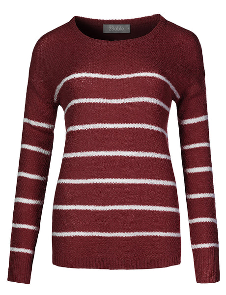 Womens Casual Loose Fit Long Sleeve Striped Soft Knitted Sweater (WSK4291)