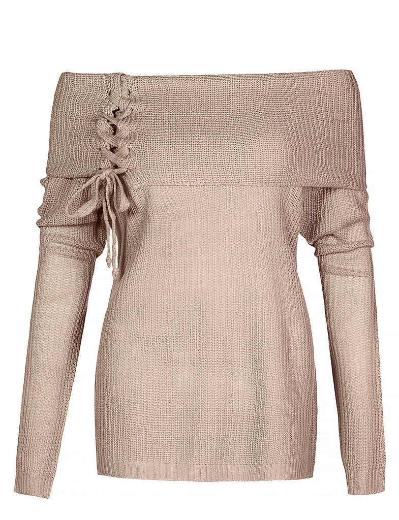 030d17e99edd55 LE3NO Womens Casual Loose Fit Lace Up Fold Over Off Shoulder Knit Sweater  Top (WSK4338. KHAKI ...