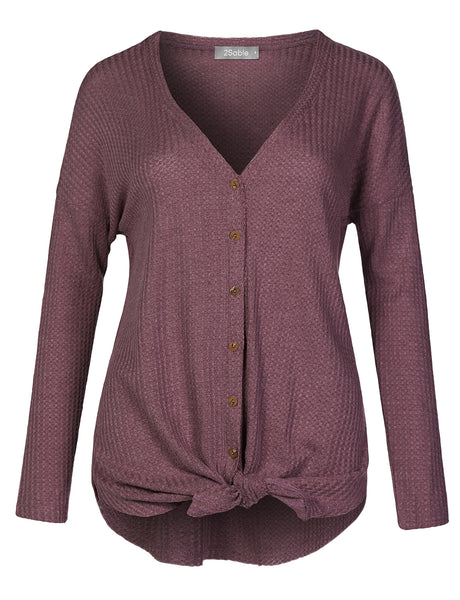 Womens Casual Waffle Thermal Knit Raw Edge Long Sleeve Button Down Top Cardigan (WSK4492)
