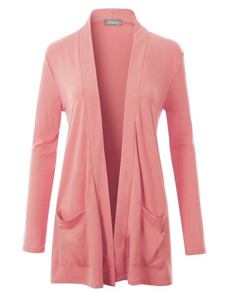 Womens Classic Ultra Soft Long Sleeve Open Front Slouchy Pocket Cardigan (WSK4711)