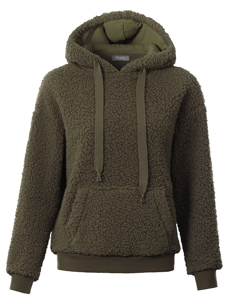 Womens Cozy Sherpa Fleece Pile Hoodie Pullover Sweater with Pockets (WSK4775)