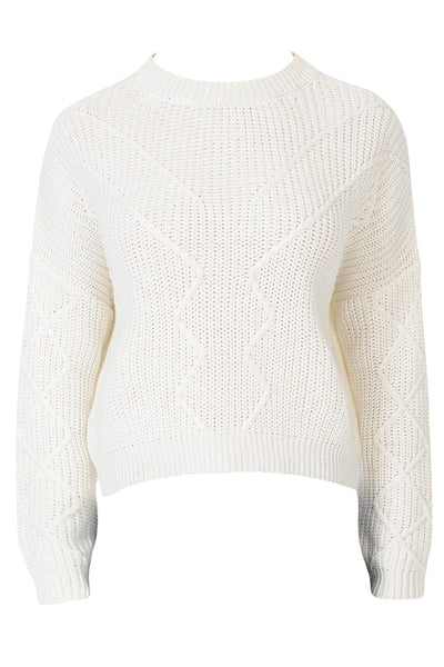 Womens Soft Round Neck Pullover Jacquard Knit Sweater Top (WSK4778)
