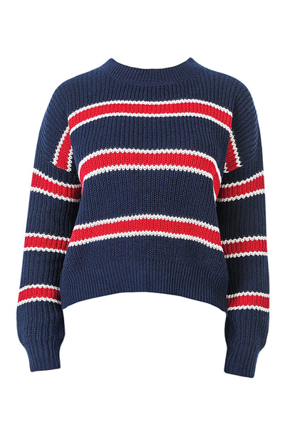 Womens Round Neck Multi Striped Colorblock Knit Sweater Top (WSK4784)