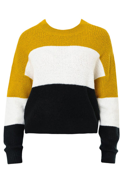 Womens Round Neck Colorblock Knit Sweater Top with Stretch (WSK4790-PREORDER 7/26)