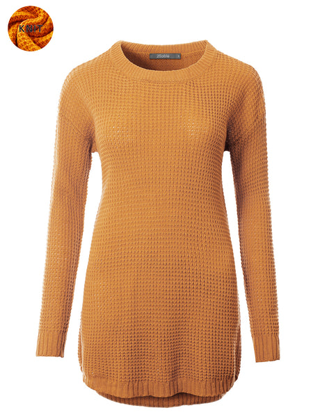 Womens Round Neck Lightweight Long Waffle Knit Sweater (WSK4793)