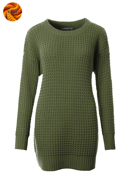 Womens Round Neck Long Knit Sweater with Stretch (WSK4795)