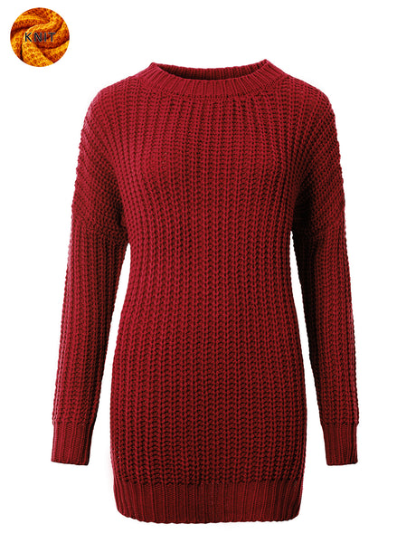 Womens Round Neck Long Sleeve Knit Sweater with Side Slits (WSK4796)