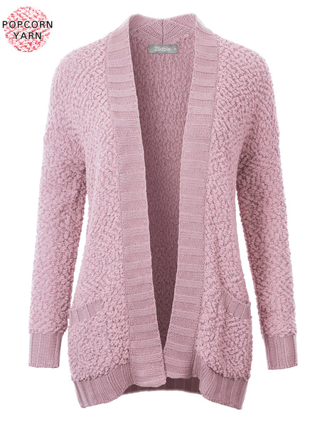Womens Long Open Front Popcorn Yarn Knit Sweater Cardigan (WSK4817)