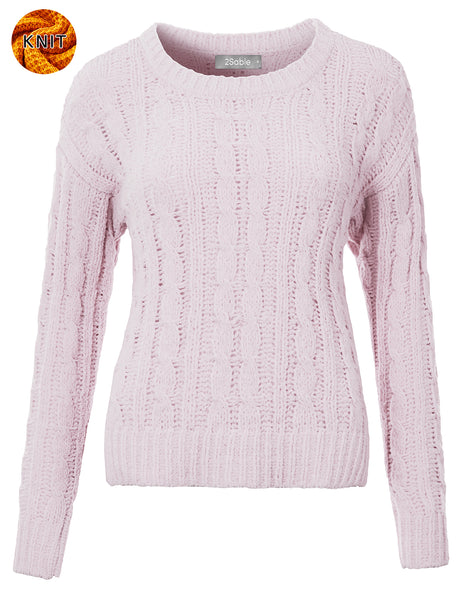 Womens Soft Round Neck Cabled Knit Sweater with Stretch (WSK4819)