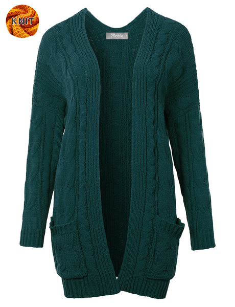 Womens Long Oversized Cable Open Front Knit Sweater Cardigan (WSK4821)