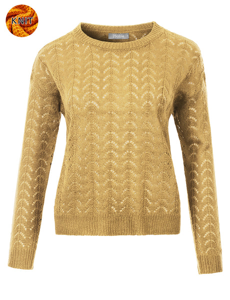 Womens Lightweight Round Neck Long Sleeve Crochet Knit Sweater Top (WSK4823)