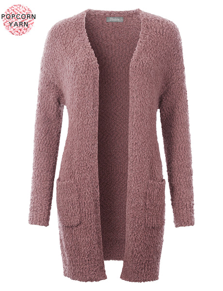Womens Long Open Front Popcorn Yarn Knit Sweater Cardigan with Pockets (WSK4831)