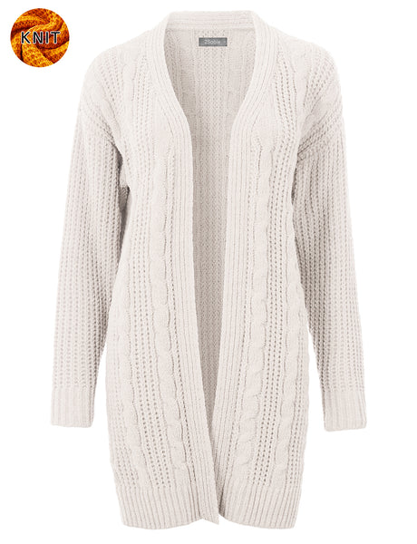 Womens Long Oversized Chenille Open Front Cable Knit Sweater Cardigan (WSK4835)