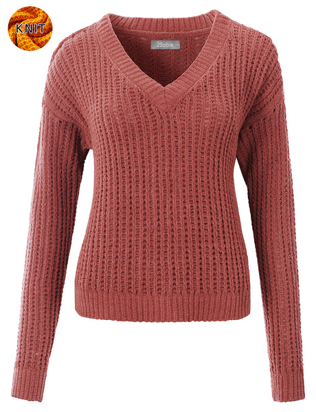 Womens Boxy V Neck Long Sleeve Waffle Knit Sweater Top with Stretch (WSK4839)