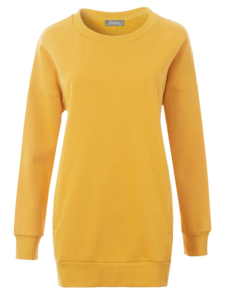 Womens Oversized Relaxed Fit Round Neck Pullover Sweatshirt with Pockets (WSK4840)