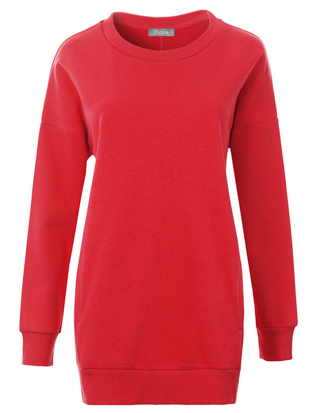 Womens Plus Size Oversized Relaxed Fit Round Neck Pullover Sweatshirt with Pockets (WSK4840P)