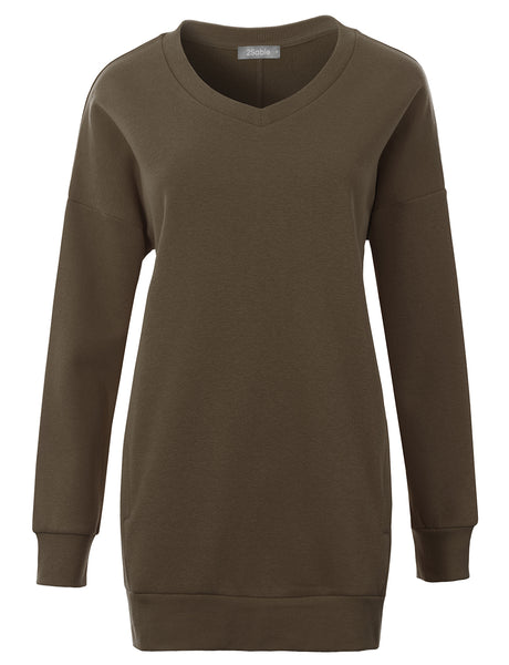 Womens Oversized Relaxed Fit V Neck Pullover Sweatshirt with Pockets (WSK4841)