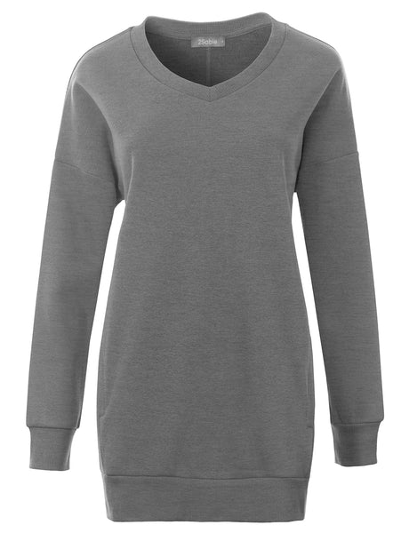 Womens Plus Size Oversized Relaxed Fit V Neck Pullover Sweatshirt with Pockets (WSK4841P)