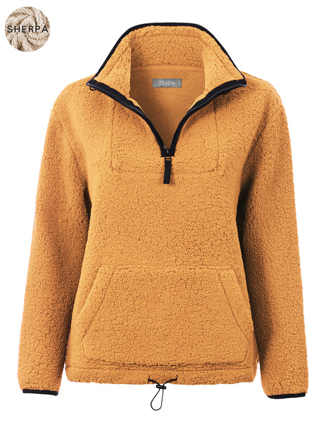 Womens Casual Half Zip Up Sherpa Fleece Pullover Sweater Jacket with Pockets (WSK4843)