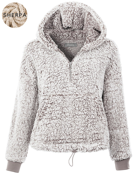 Womens Sherpa Fleece Pullover Hoodie Sweater Jacket with Pockets (WSK4857)