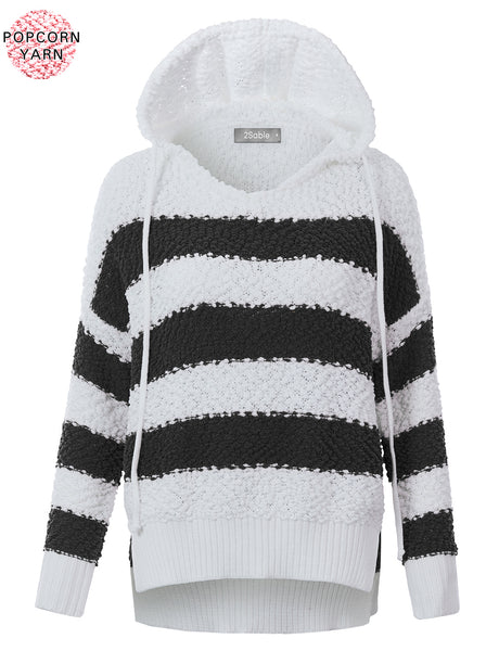 Womens High Low Color Block Popcorn Yarn Hoodie Pullover Knit Sweater (WSK4861)