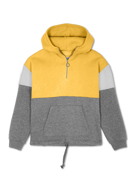 Womens Casual Soft Fleece Color Block Zip Up Hoodie Pullover Sweater (WSK4884)