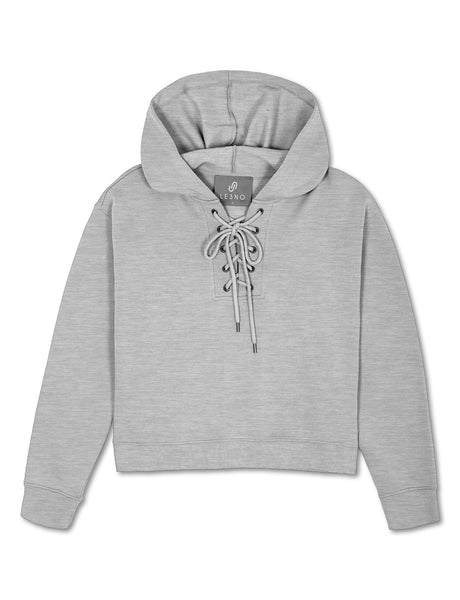 Womens Lace Up Loose Fit Pullover Hoodie Sweater (WSK4887)