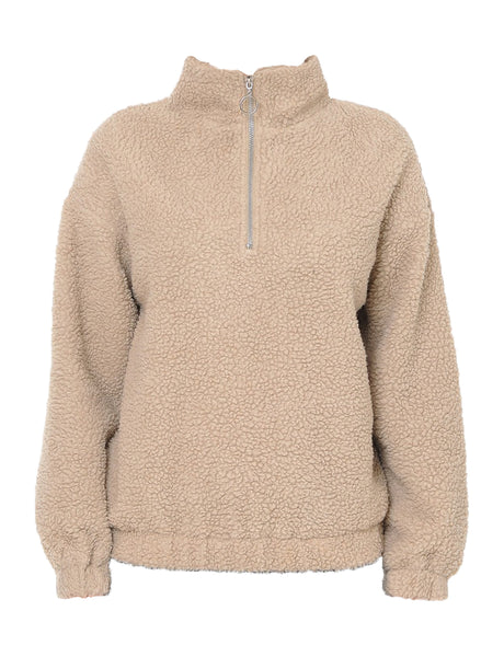 Womens Solid Sherpa High Neck Pullover Sweater Jacket (WSK4892)
