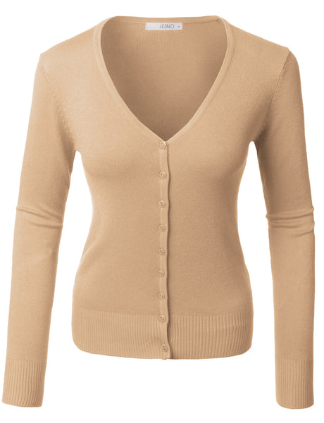 Womens Soft Fitted Basic Cardigan Sweater (WSK515A)