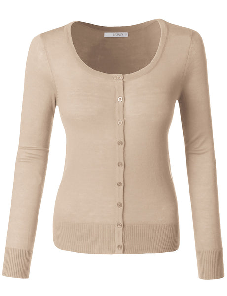 Womens Plus Size Lightweight Round Neck Fine Knit Cardigan Sweater with Stretch (WSK627P)