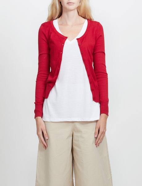 Womens Lightweight Round Neck Fine Knit Cardigan Sweater with Stretch (WSK627)