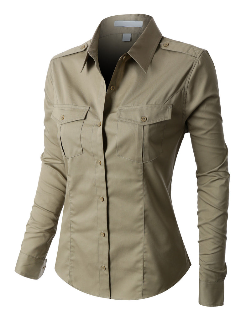 6ec39be28a8 LE3NO PREMIUM Womens Easy Care Roll Up Sleeve Twill Button Down Shirt  (WT1775). BEIGE BEIGE ...