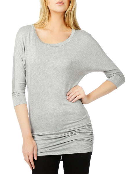 Womens Jersey Dolman 3/4 Sleeve Drape Top with Side Shirring (WT1974)