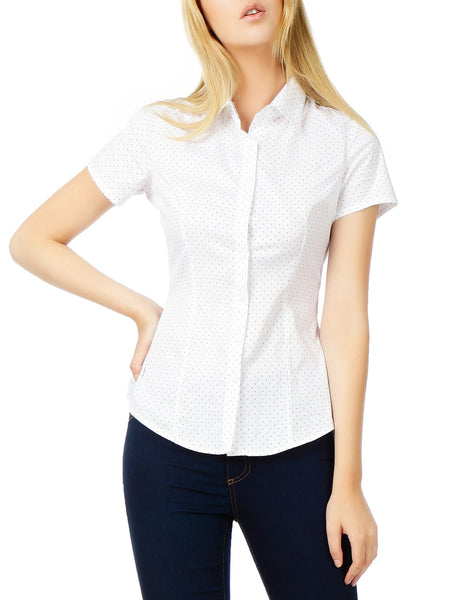 Womens Polka Dots Short Sleeve Button Down Tailored Shirt (WT2270)