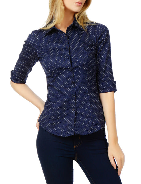 Womens Polka Dots Button Down 3/4 Sleeve Tailored Shirt (WT2271)