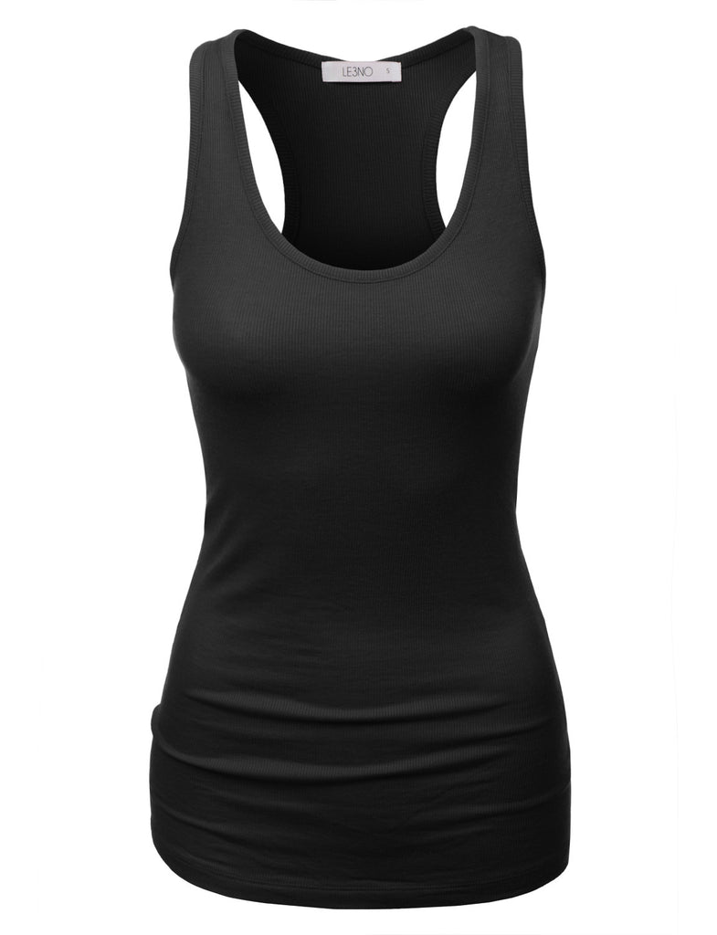 8c62c920fd217 LE3NO Womens Basic Ribbed Racerback Tank Top