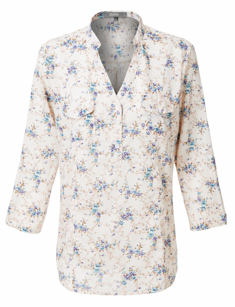 10c8c5d8333 LE3NO Womens Lightweight Roll Up 3 4 Sleeves Half Button Down Blouse Shirt  (WT2921