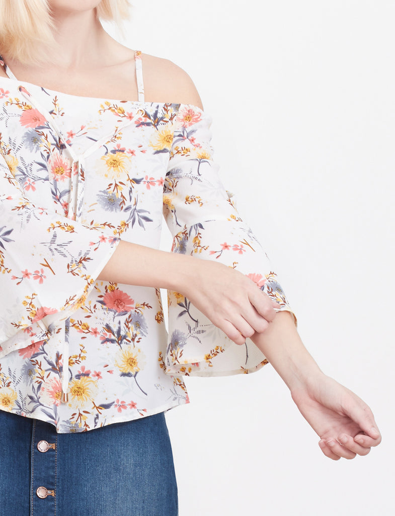 72c18eb8e15e LE3NO Womens Chiffon Floral Print Off Shoulder Bell Sleeves Flowy Blouse Top  (WT3157)