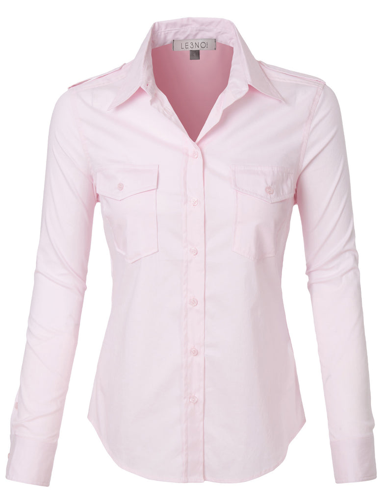 LE3NO Womens Lightweight Long Sleeve Button Down Shirt with Pockets  (WT3404). PINK ... 2cd7c827c