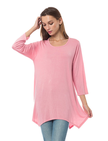 Womens Loose Fit 3/4 Sleeve Asymmetric Hem Flared Tunic Top (WT3502)