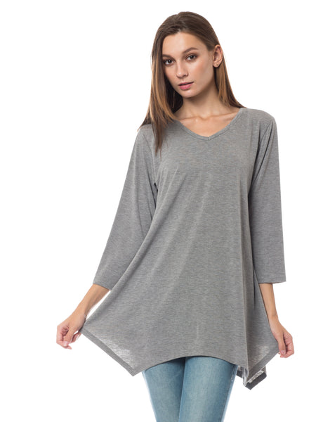 Womens Loose Fit 3/4 Sleeve Handkerchief Hem Tunic Top (WT3532)
