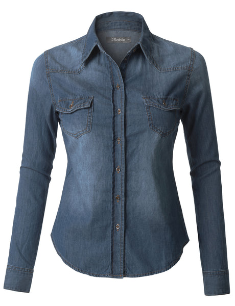 Womens Lightweight Long Sleeve Button Down Denim Shirt (WT3569)
