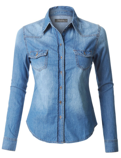 Womens Plus Size Lightweight Long Sleeve Button Down Denim Shirt (WT3569P)