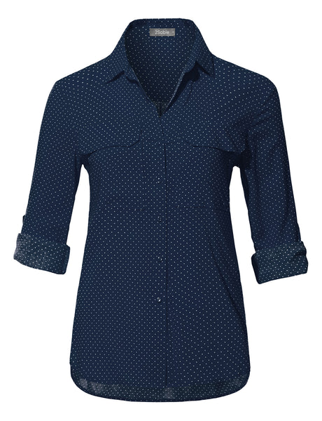 Womens Lightweight Long Sleeve Polka Dot Blouse Top with Pockets (WT3725)