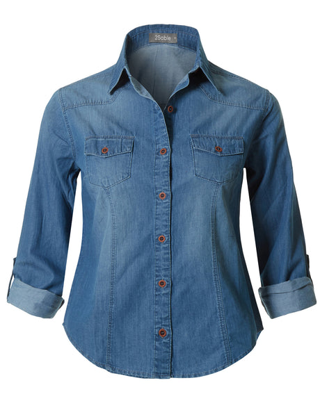 Womens Roll Up Long Sleeve Button Down Cotton Denim Shirt with Pockets (WT3742)